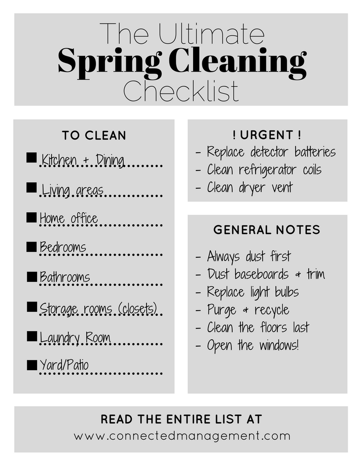 Spring Cleaning Checklist the ultimate condo spring cleaning checklist - connected